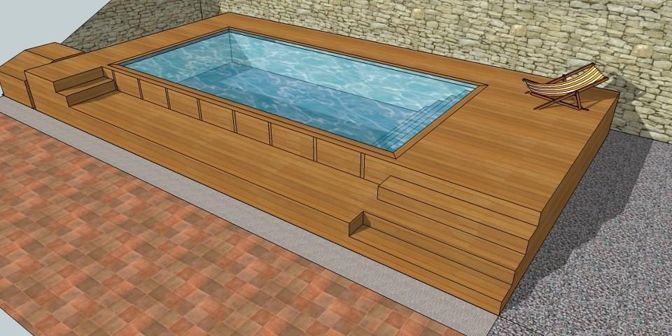 Piscine en bois sur mesure for Mini piscine bois