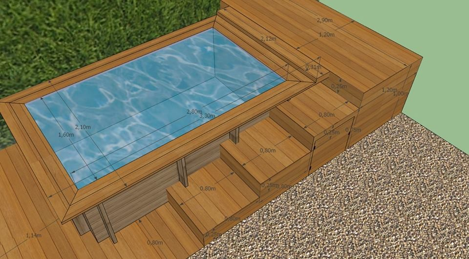Terrasse bois mini piscine diverses id es for Mini piscine bois enterree