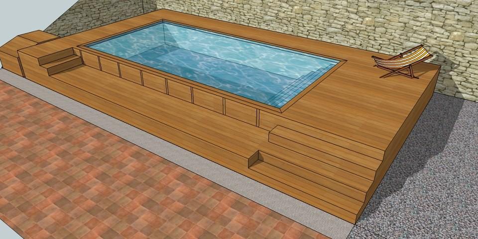 Mini piscine en bois les formes for Petite piscine bois